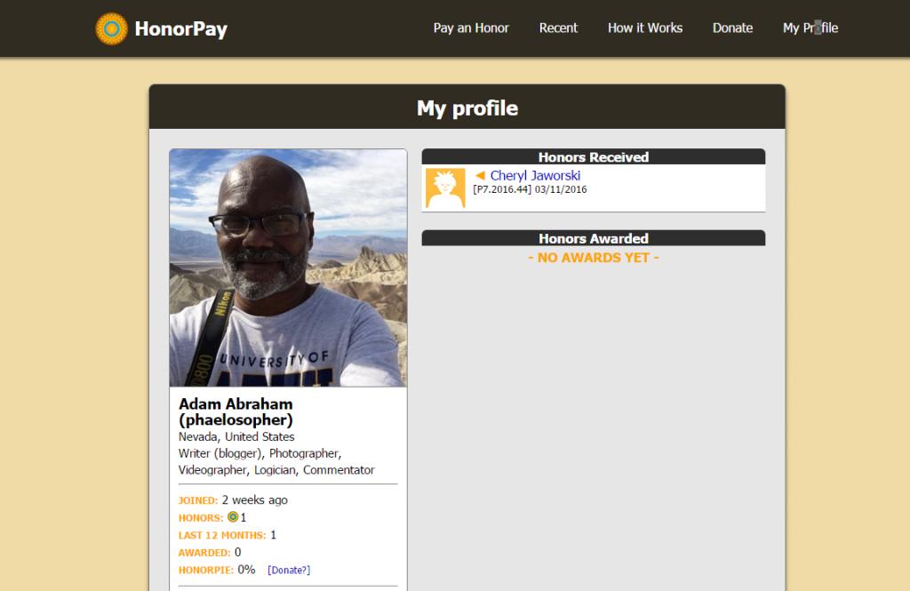 My HnoroPay Profile.